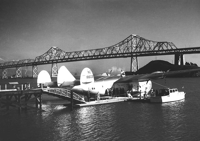 Pan Am Clipper being loaded at Treasure Island