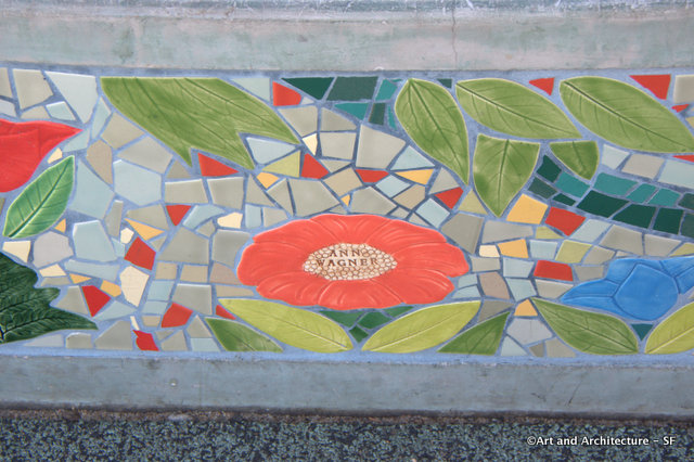 Tiles in the bench at Alta Plaza in Pac Heights SF