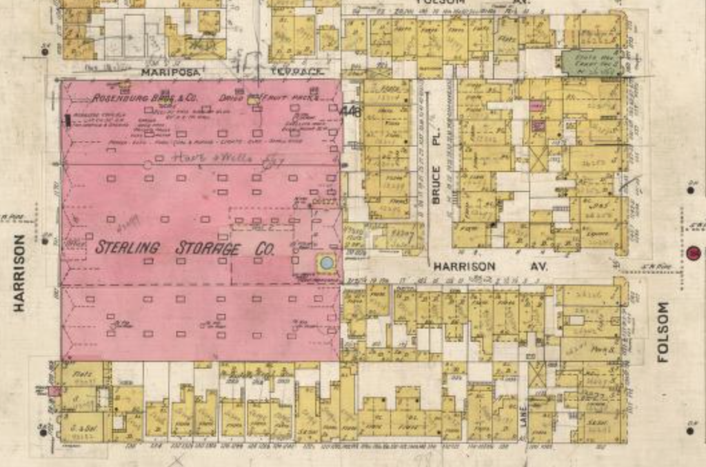 This is from the 1905 Sanborn map, showing the building as storage.