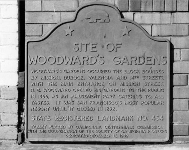 Plaque on the outside of Woodward Gardens Restaurant, now missing. (Photo credit: San Francisco Public Library)
