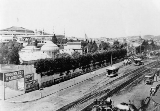 The Mission Street Entrance to Woodward Gardens, 1862. (Photo credit: San Francisco Public Library)