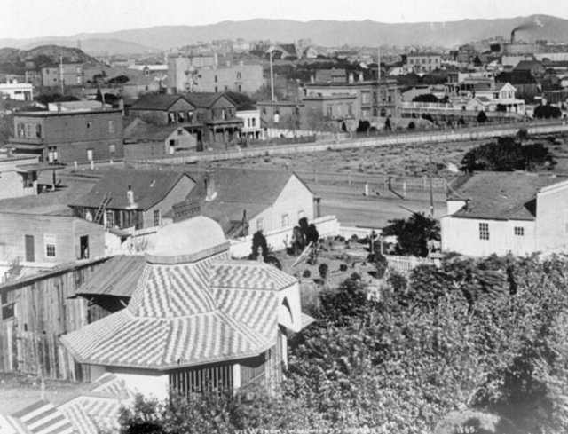 Looking Northeast from Robert Woodward's house, 1865. (Photo credit: San Francisco Public Library)