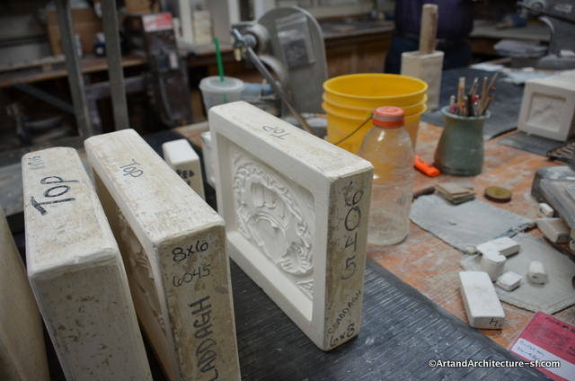 Most of the tiles that Pewabic manufactures are created in molds