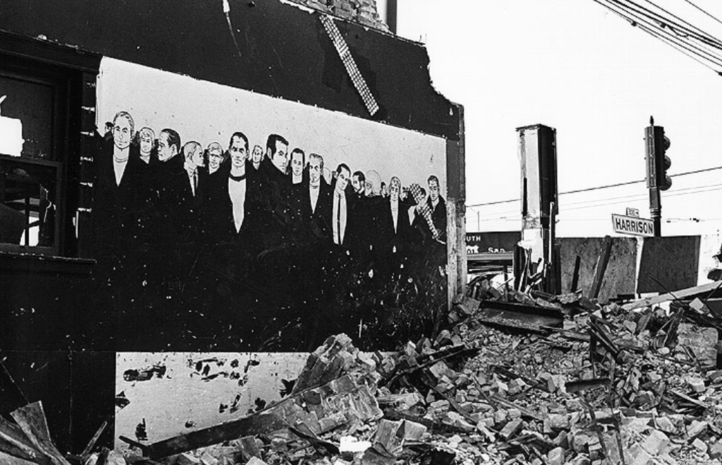 Rubble of the Tool Box at 4th and Harrison (1971), Chuck Arnett's notorious mural stood mutely over the ruins for almost two years